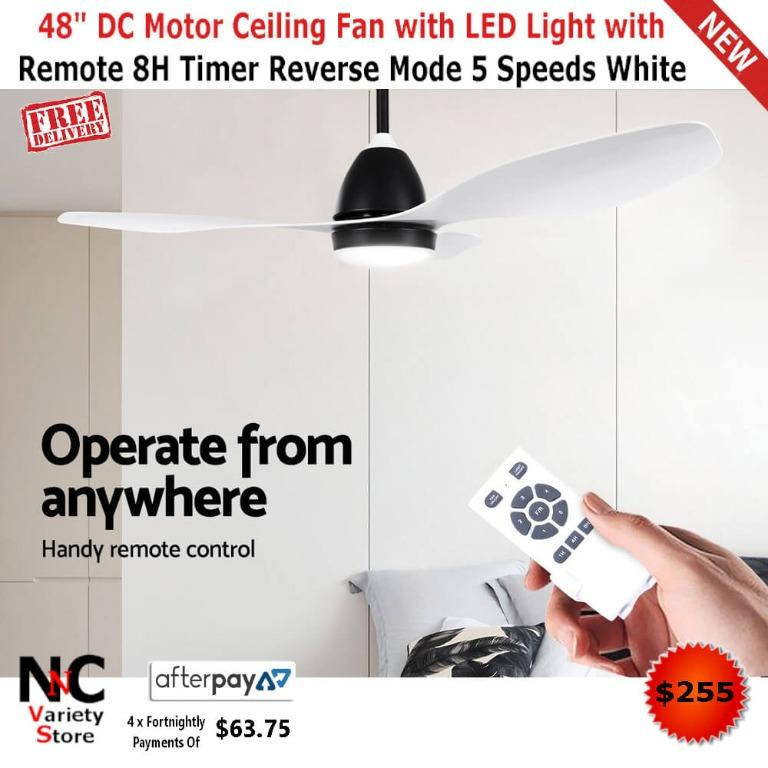 48″ DC Motor Ceiling Fan with LED Light with Remote 8H Timer Reverse Mode 5 Speeds White