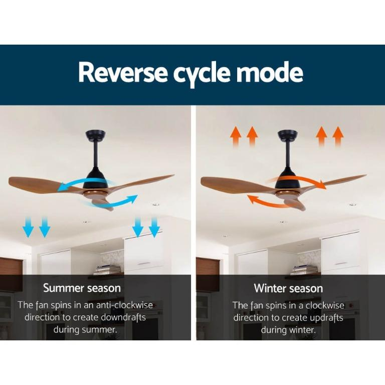 48″ DC Motor Ceiling Fan with Remote 8H Timer Reverse Mode 5 Speeds Natural
