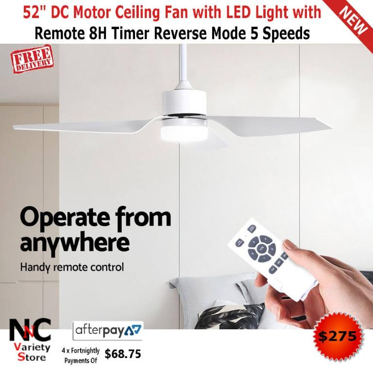 52″ DC Motor Ceiling Fan with LED Light with Remote 8H Timer Reverse Mode 5 Speeds
