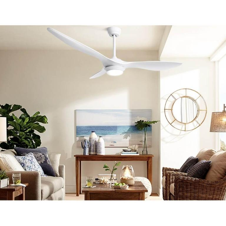 52″ DC Motor Ceiling Fan with LED Light with Remote 8H Timer Reverse Mode 5 Speeds White