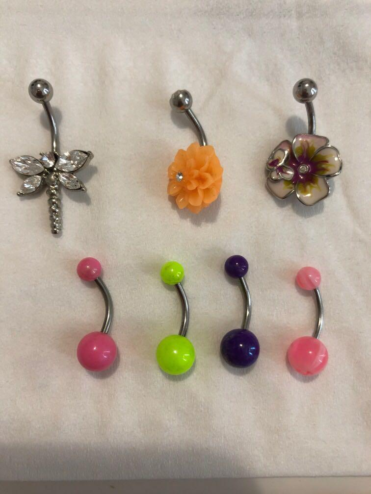 7 belly navel piercing rings 50c each or all for $3