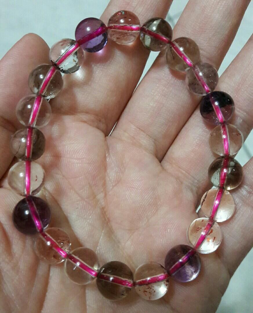 天然超七手珠,9.4mm,22公克,清透亮眼,超七手珠手鏈