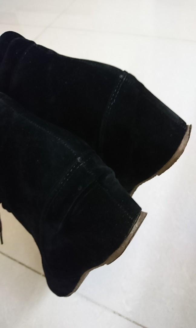 黑色綁帶短靴 二手鞋