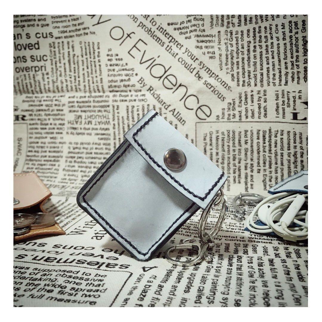 全手工 真皮 散銀包 / Airpod case / 耳機收鈉袋 (擦蠟皮 - 黑色)