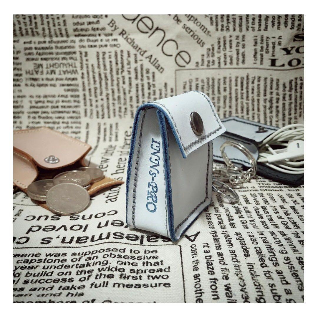全手工 真皮 散銀包 / Airpod case / 耳機收鈉袋 (擦蠟皮 - 粉藍色)