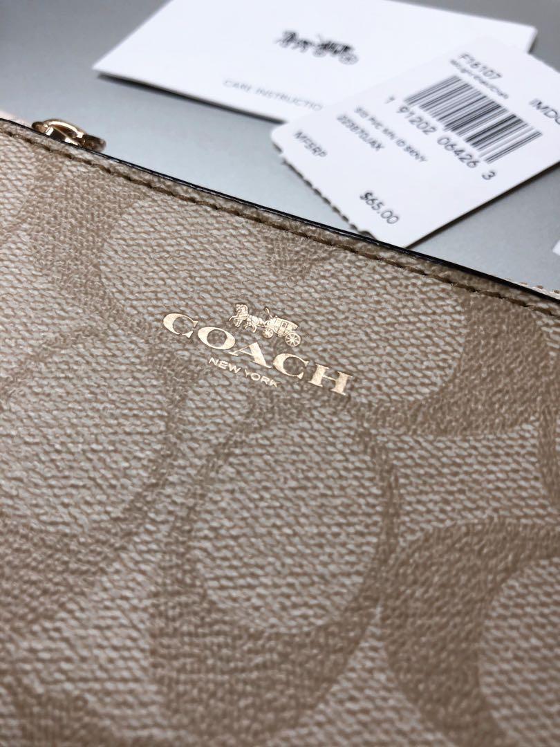 全新 COACH 經典LOGO PVC皮革證件鑰匙零錢包 卡其白 #剁手時尚