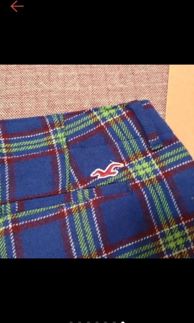美國 HOLLISTER 秋冬 時尚 格紋 超短 羊毛 短褲  近全新