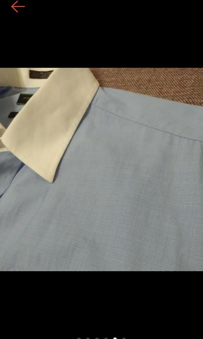美國帶回 JOSEPH ABBOUD 紳士必備 型男 白領 細藍格 長袖襯衫