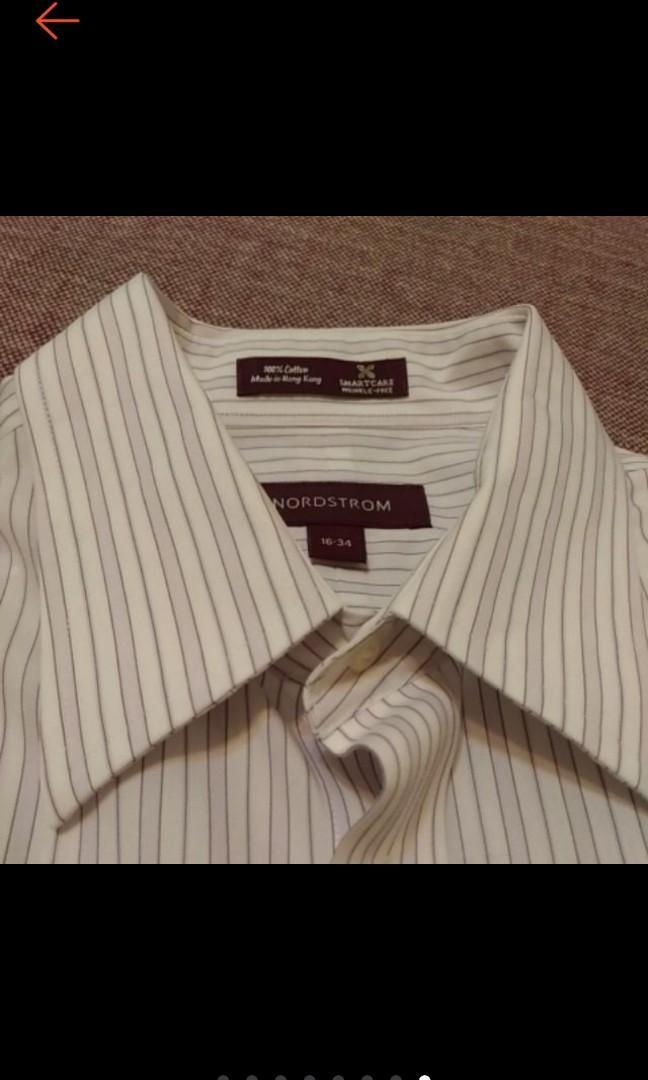美國帶回 NORDSTROM 精品 型男 淺紫白條紋 長袖襯衫 條紋襯衫 防皺襯衫