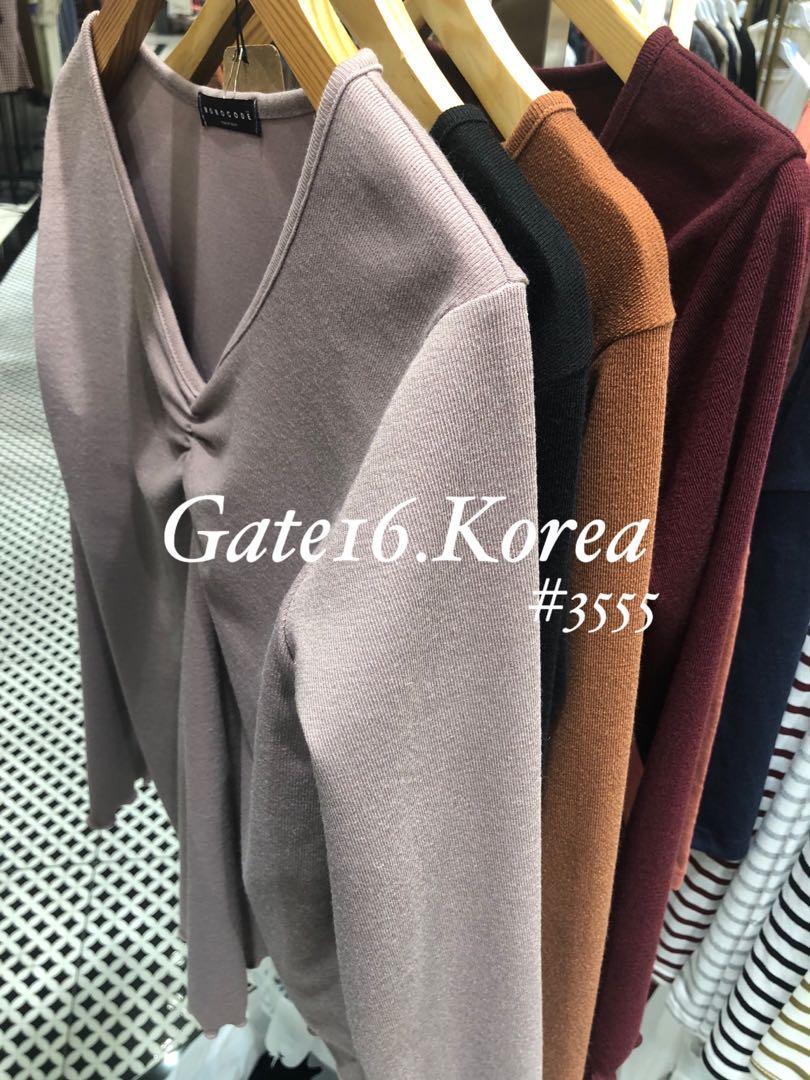 🇰🇷韓國直送連線🇰🇷 V領打褶長袖修身襯衣 ✨瘦人衫✨易襯✨超舒服✨顯身材 🌈 棗紅色 / 卡其色 / 啡 / 黑色 💰促銷價💰:$98/件 $170/2件 $240/3件