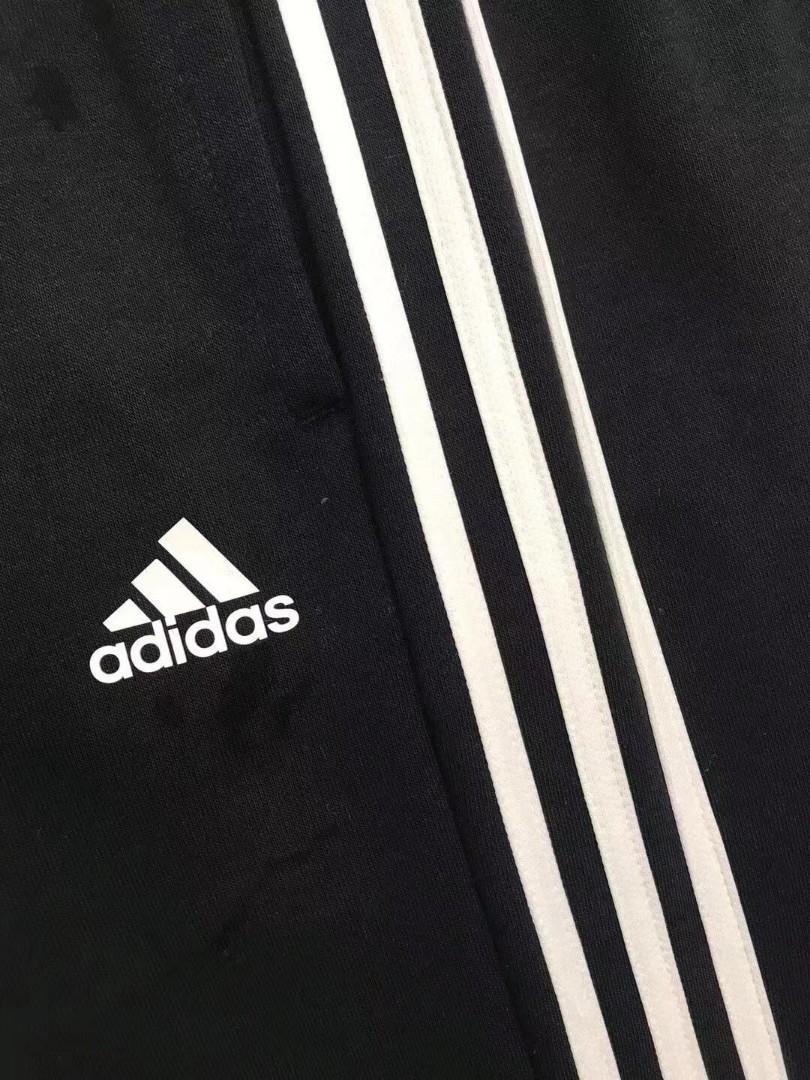 Adidas黑色白間毛圈束腳運動長褲