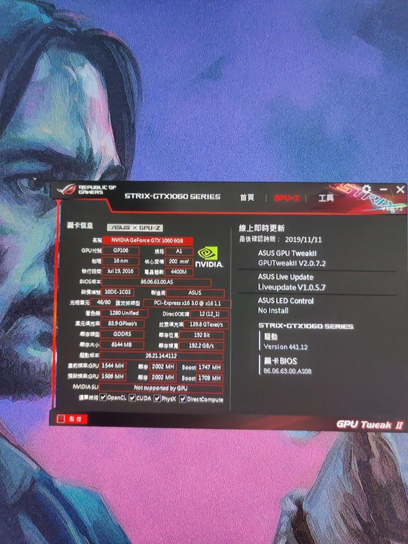 Asus ROG STRIX-GTX1060-6G-GAMING gpu 顯示卡 可加錢換1070或以上級別既卡