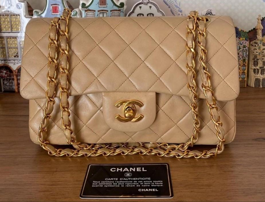 "Authentic Chanel Vintage 9"" beige small bag"