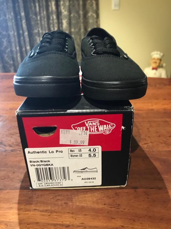 Authentic Low pro black/black Vans - women's US 5.5