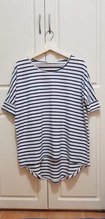 BRAND NEW Paper Scissors striped 1/4 sleeve shirt, size S