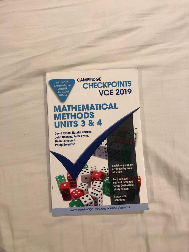cambridge checkpoints mathematical methods units 3 & 4 2019