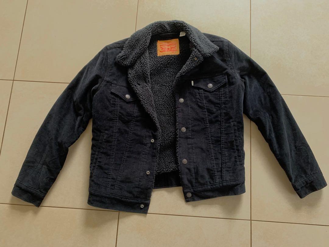 Corduroy Sherpa trucker jacket men's Levi denim jacket