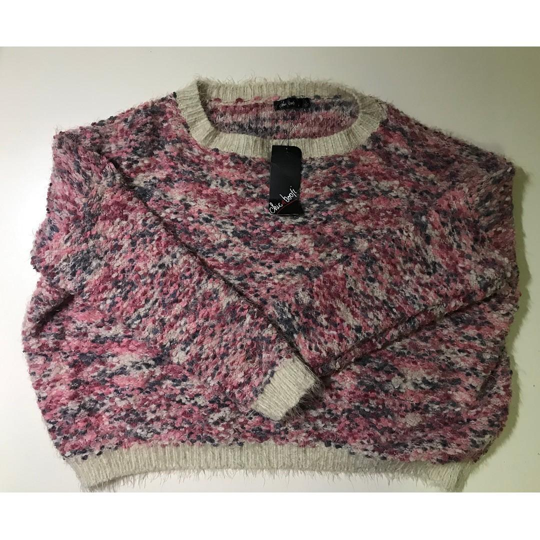 Cute Cropped Knit Top Pink Sweater Chica Booti Large