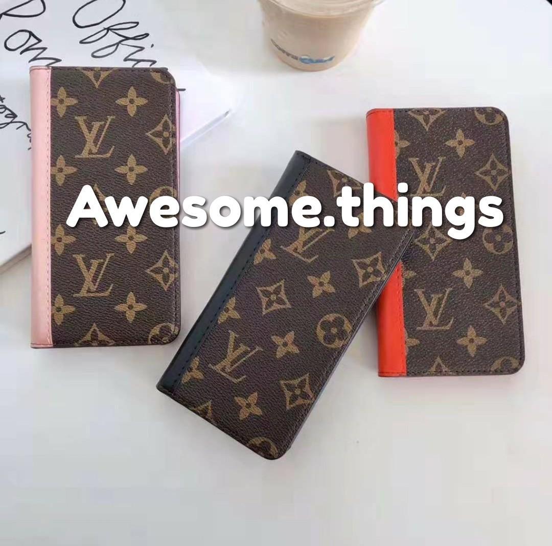 PREORDER Louis Vuitton LV Apple iPhone 7 8 Plus X XS XS Max XR Apple iPhone 11 iPhone 11 Pro iPhone 11 Pro Max Louis Vuitton LV Premium Leather Flip Case Coloured Side With Card Slots