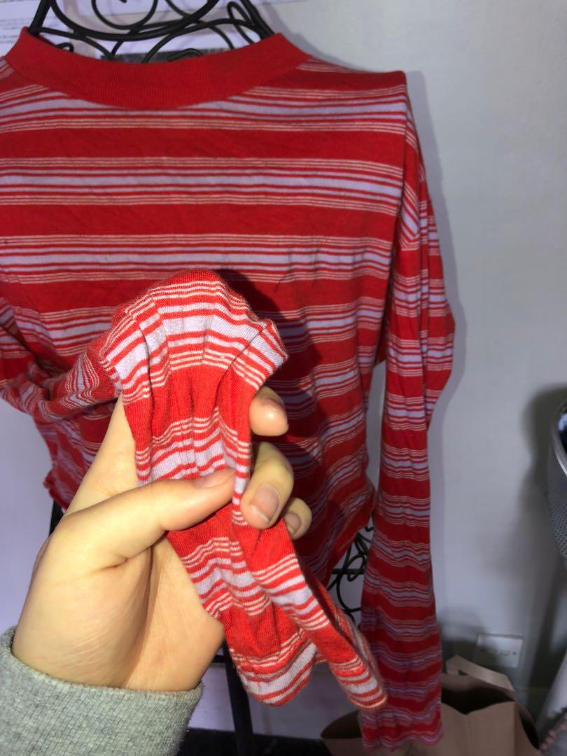 GLASSONS RED/PINK LONG SLEEVED CROP TOP