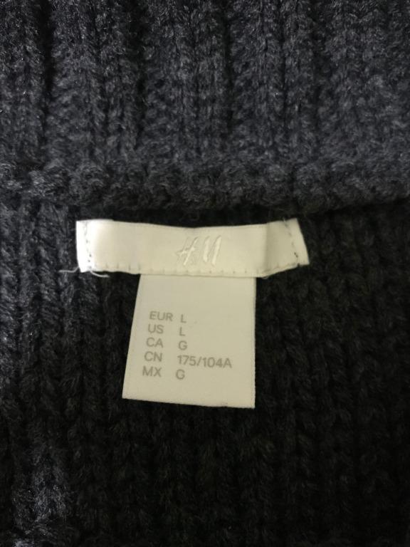 H&M Crewneck Loose-Fitting Sweater Dark Grey With Pattern