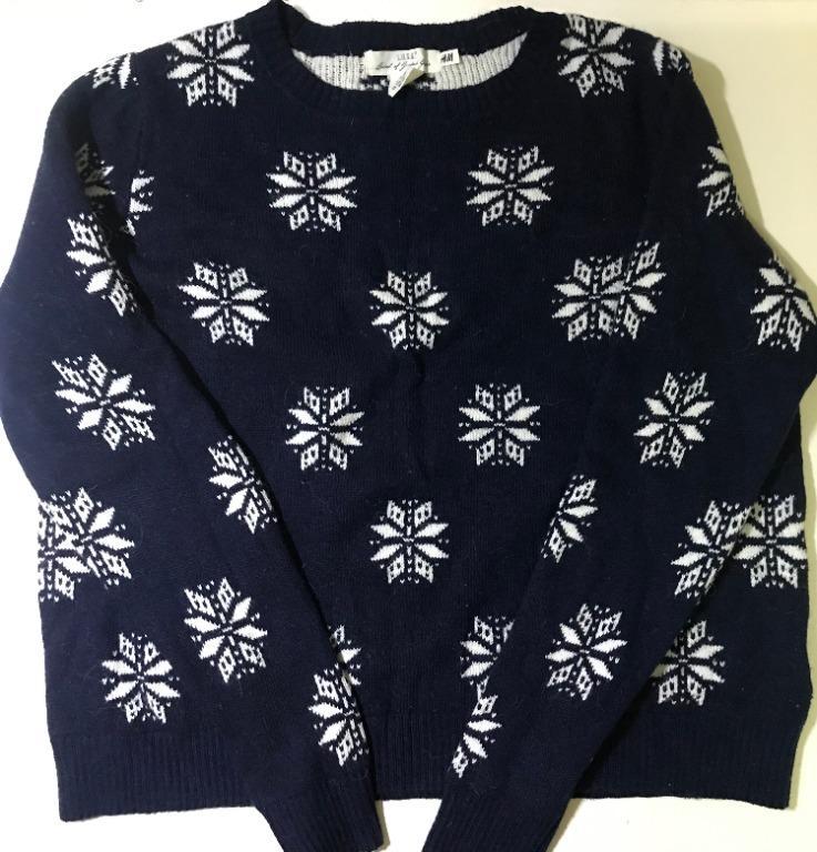 H&M Crewneck Sweater Navy With Flower Pattern XL