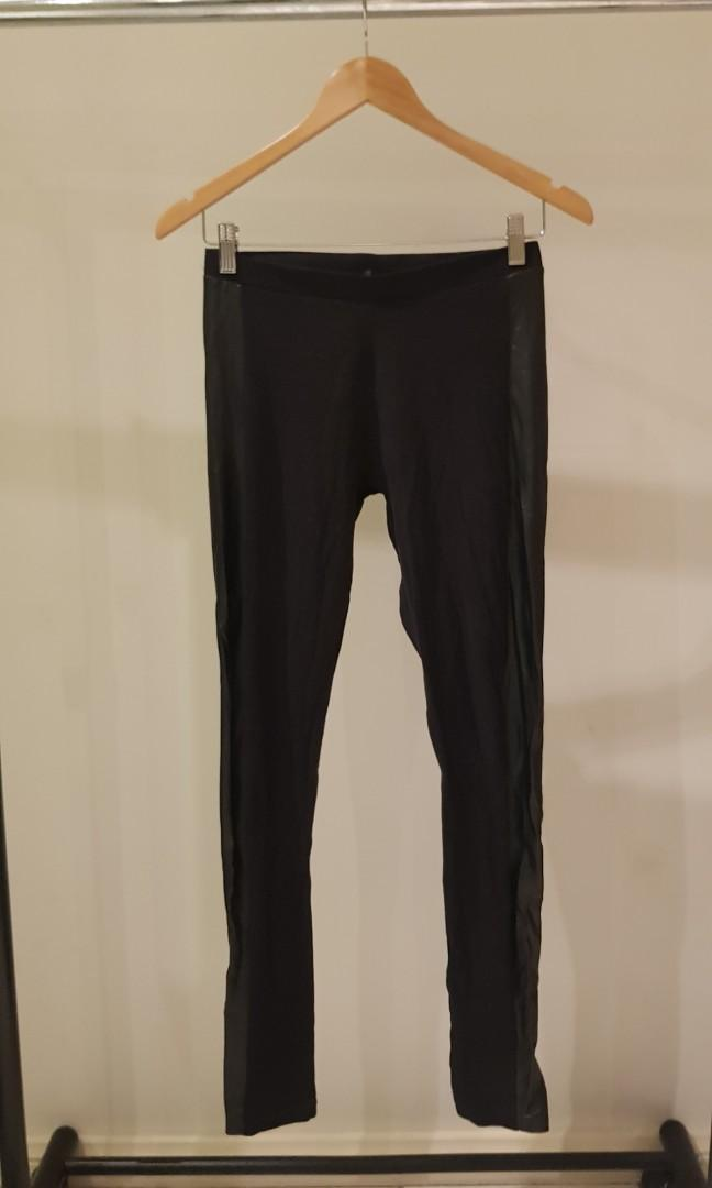Jay Jays Size XS Black Leggings with Faux Leather Panel