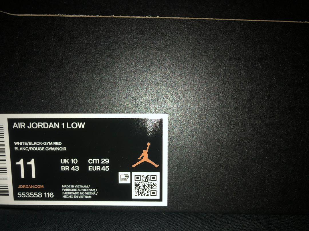 Jordan 1 Low 黑腳趾 US11現貨
