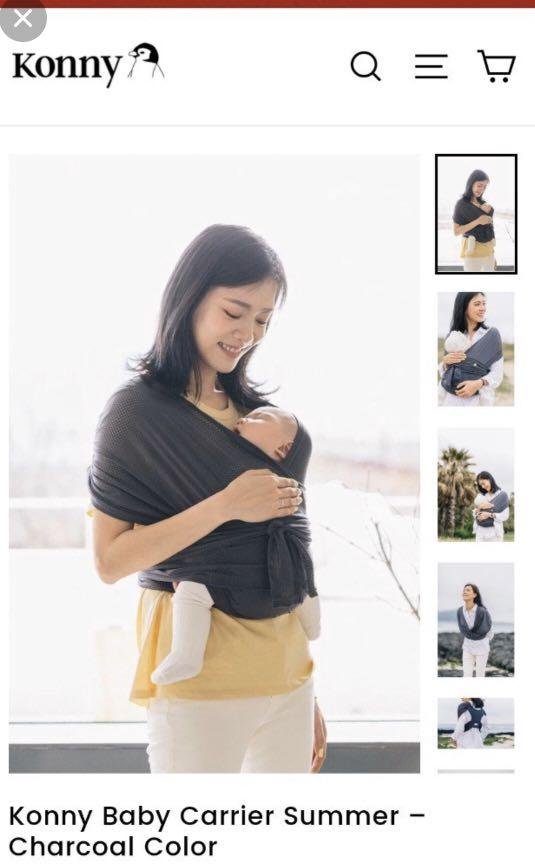 Konny baby carrier summer - charcoal size M