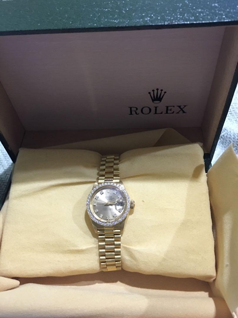 Ladies ROLEX 18 Carat Solid Gold & Diamond Watch