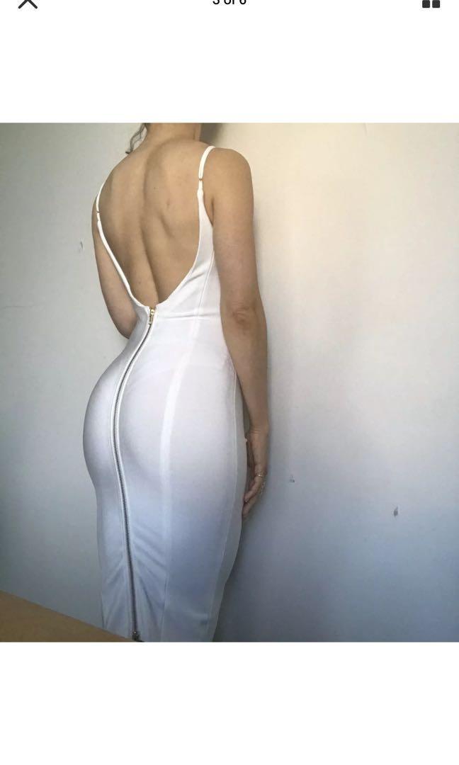 Misha collection white bodycon bandage dress size AU6