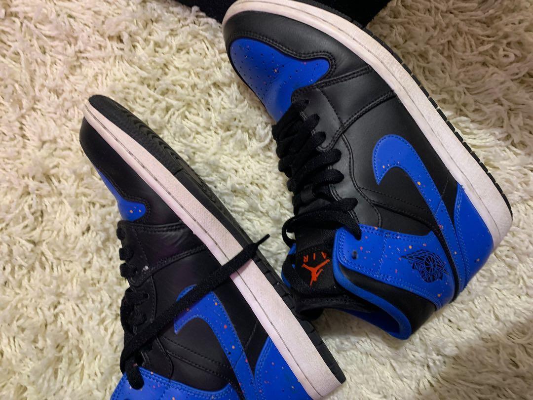 "Nike Air Jordan 1 mid "" royal specle "" // size :8 men"