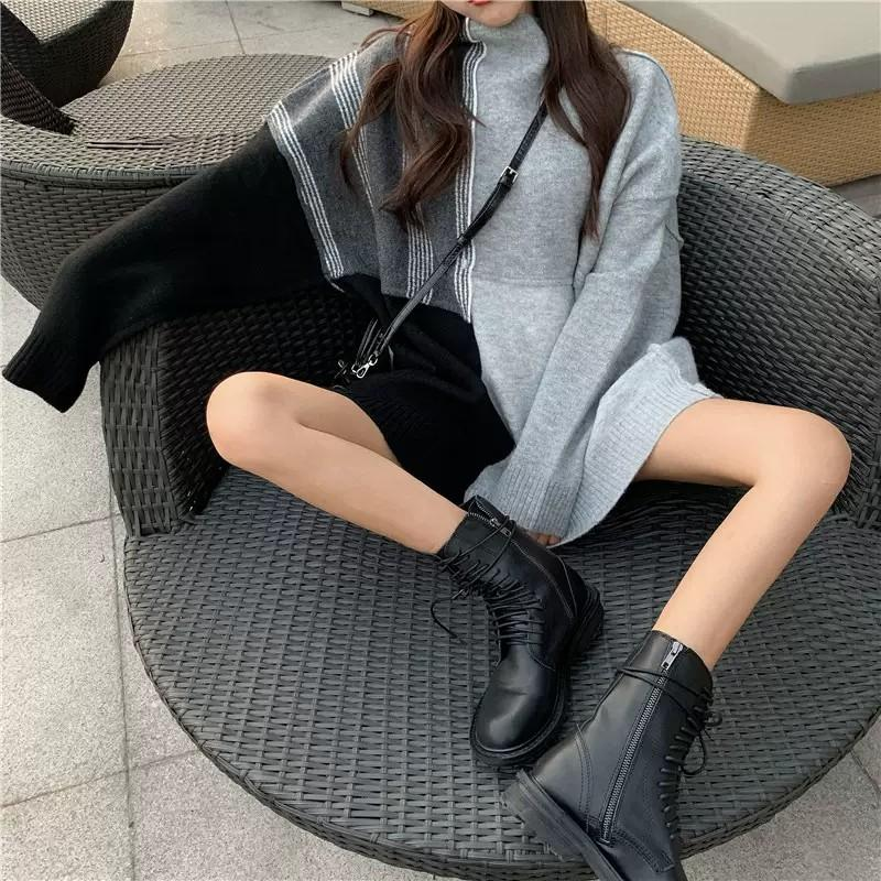 PO Patch Up Duo Tone Sweater T-shirt Top Shirt Ulzzang Long Sleeve Knit  Knitted