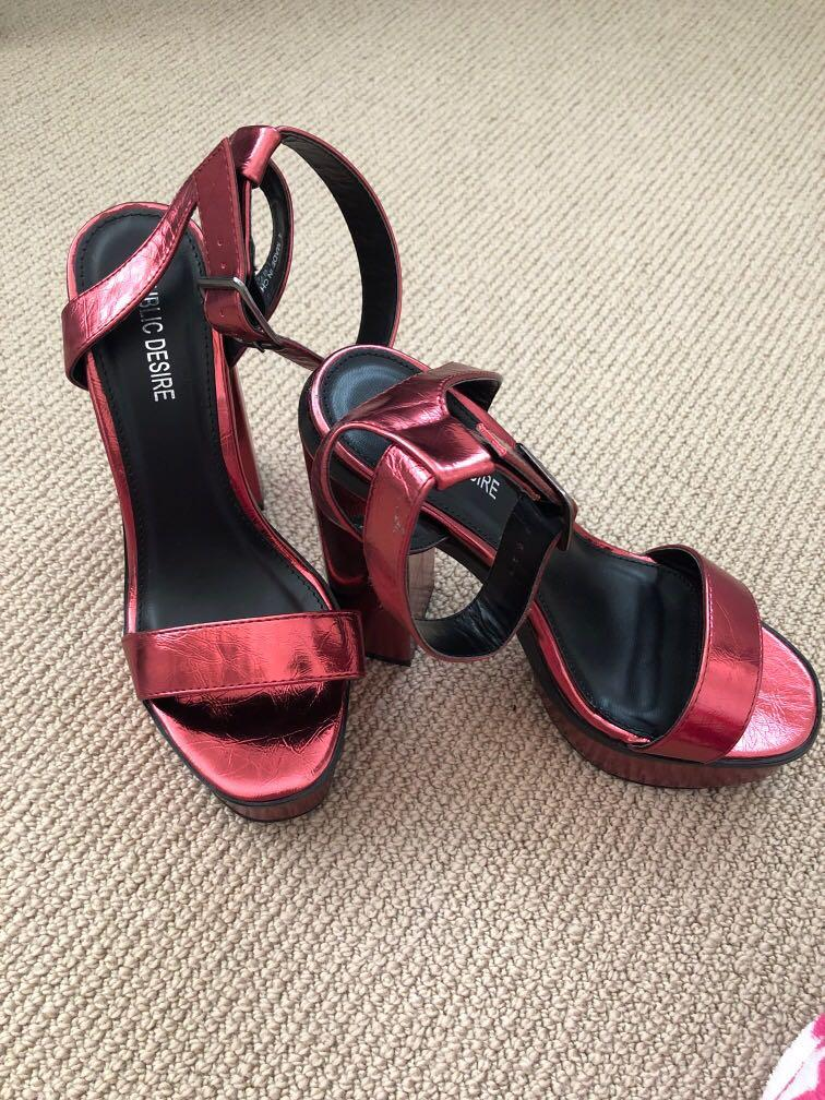 Red Metallic Platform Heels (never worn, brand new)