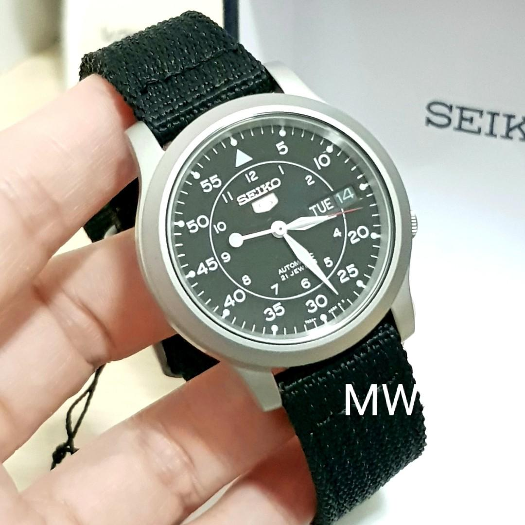 Seiko 5 Military Automatic Nylon Day Date Black Dial SNK809K2 Mens Watch