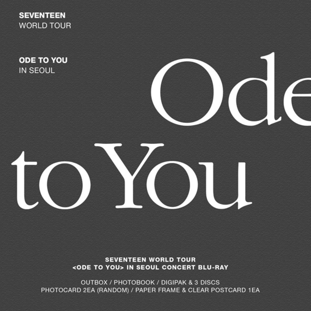 SEVENTEEN WORLD TOUR ODE TO YOU IN SEOUL BLU-RAY [PRE-ORDER]