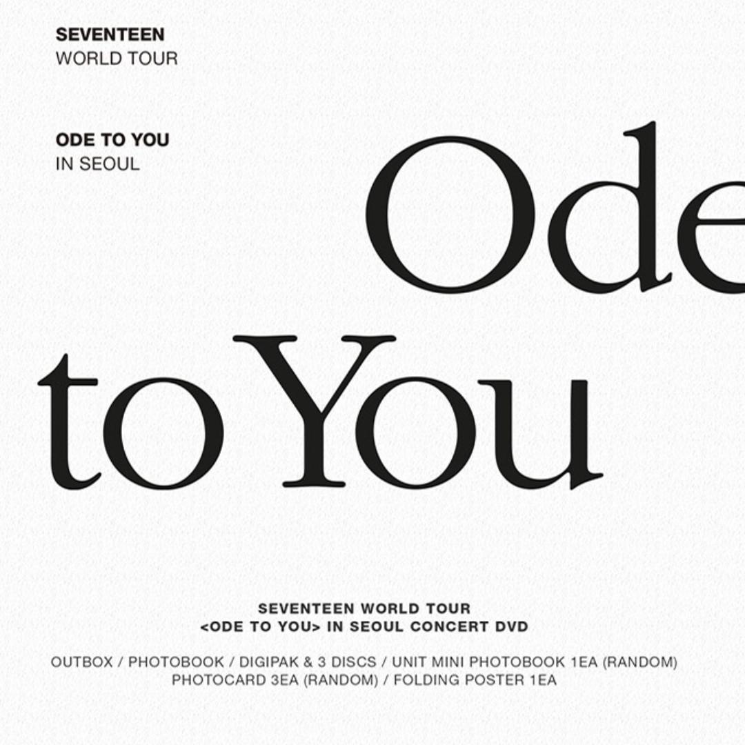 SEVENTEEN WORLD TOUR ODE TO YOU IN SEOUL DVD [PRE-ORDER]
