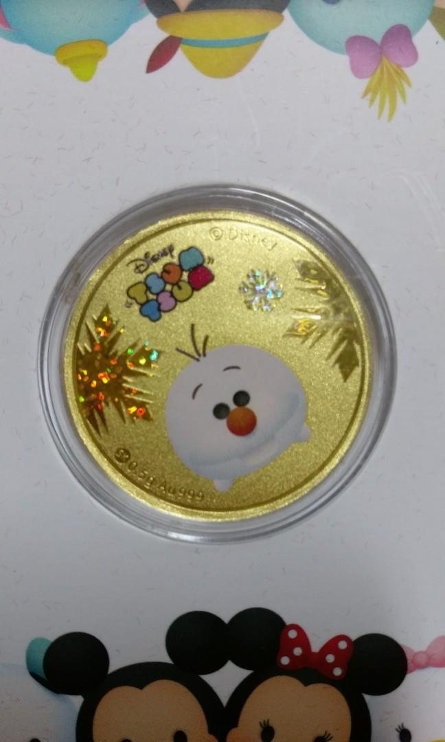 SK Jewellery Christmas 2016 limited edition Disney Tsum Tsum Frozen 999 pure gold coin set - each weighing 0.5g!!
