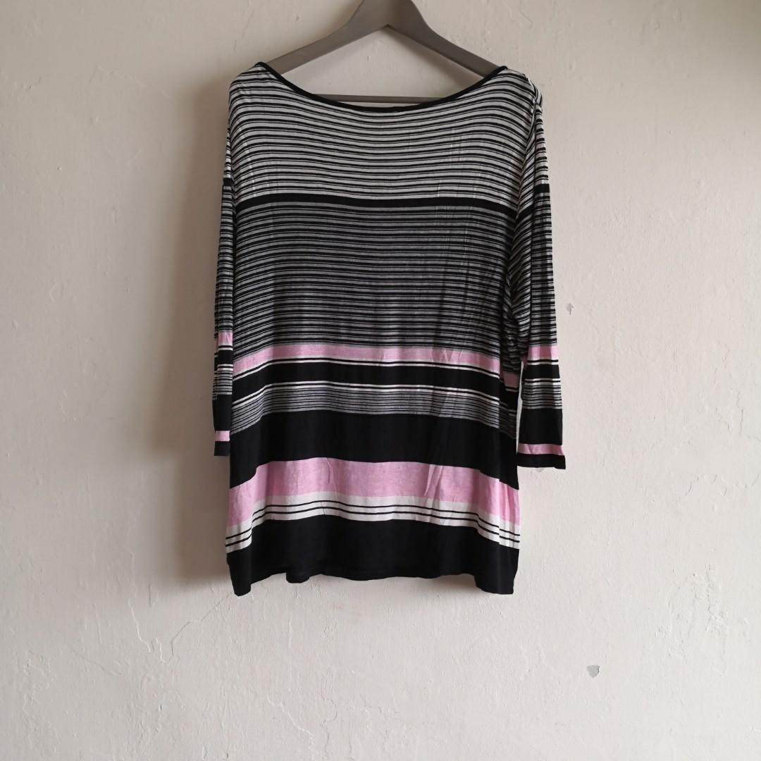 Stripes Pink Black 3/4 Sleeve Stretchable Top
