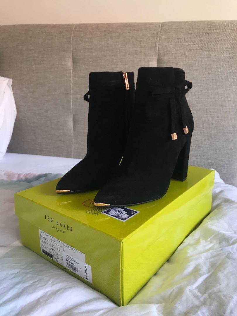 Ted Baker black suede leather boots 39/8