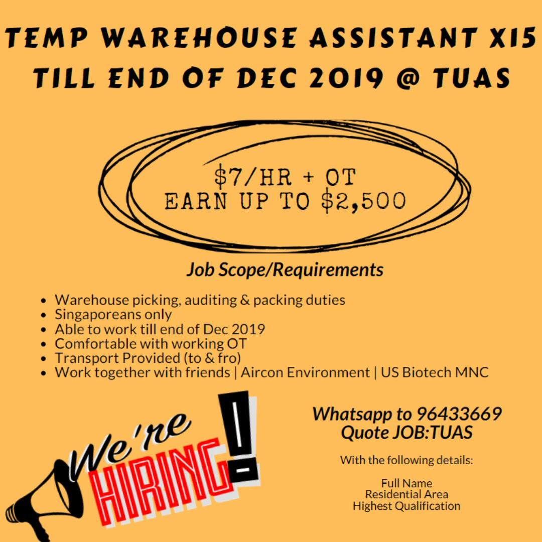 Temp Warehouse Assistant @ Tuas // Up to $2,500