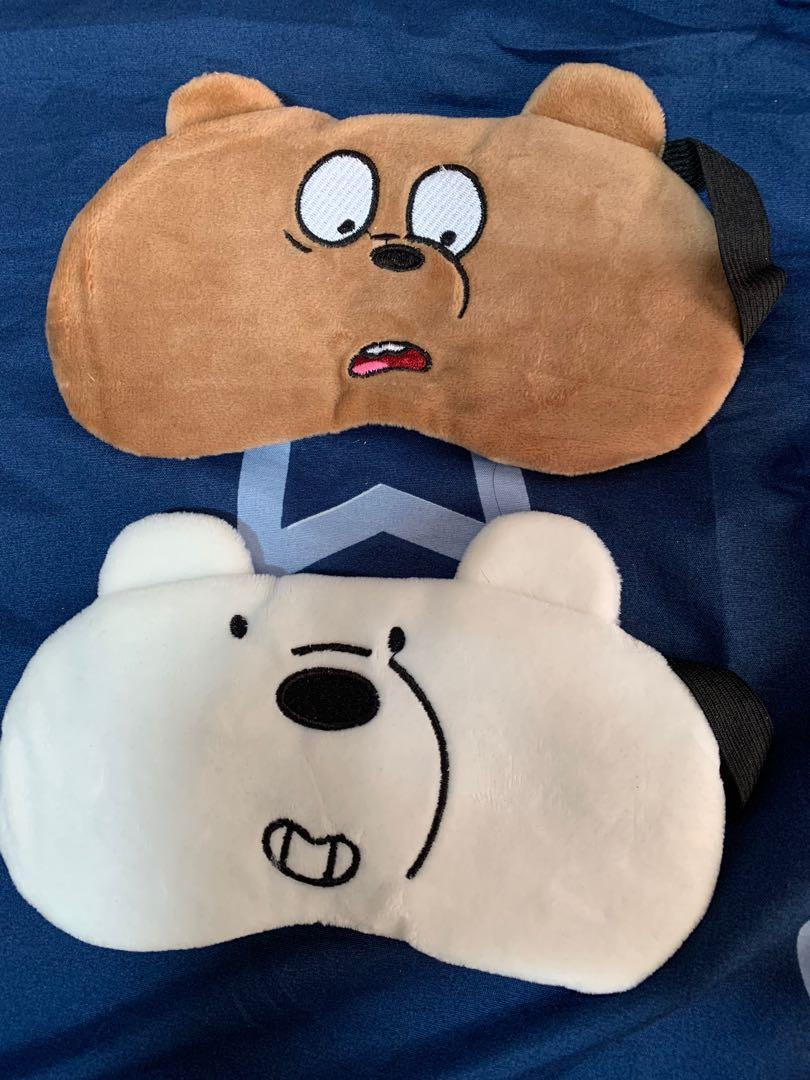 We Bare Bears WBB Sleeping Eye Mask for Travel with Cooling Gel Pad