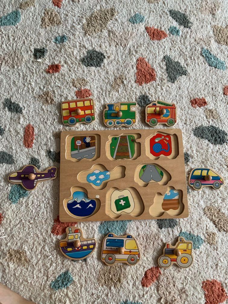Wooden Peg Puzzle (Transportation Theme)
