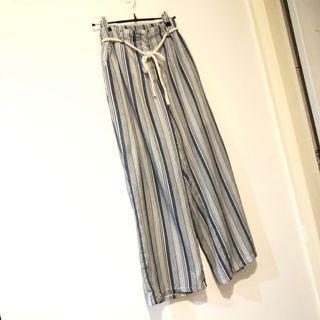 全新 原800 藍白 直條紋綁帶寬管褲