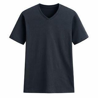 快乾棉V領短袖t shirt 藏青色