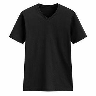 快乾棉V領短袖t shirt 黑色