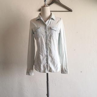 Formal Collar White Stripe Denim Long Sleeve Top