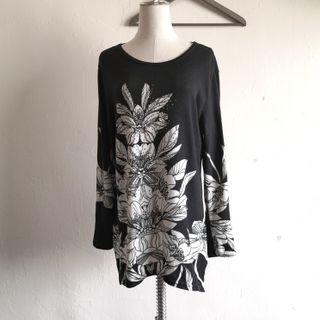 Black Floral Long Sleeve Baggy Blouse