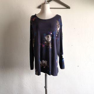 Blue Floral Stretchable Plus Size Blouse
