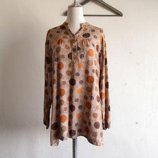 Plus Size Brown Polkadot Long Sleeve Blouse